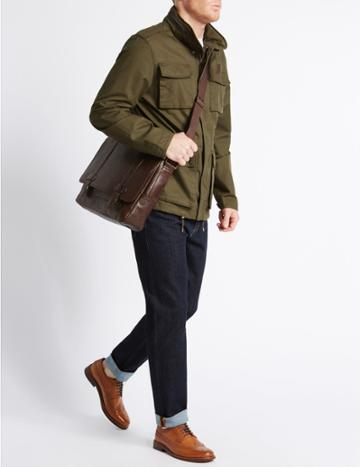 Marks & Spencer Casual Leather Messenger Brown