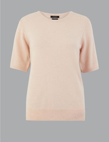 Marks & Spencer Pure Cashmere Round Neck Knitted Top Blush