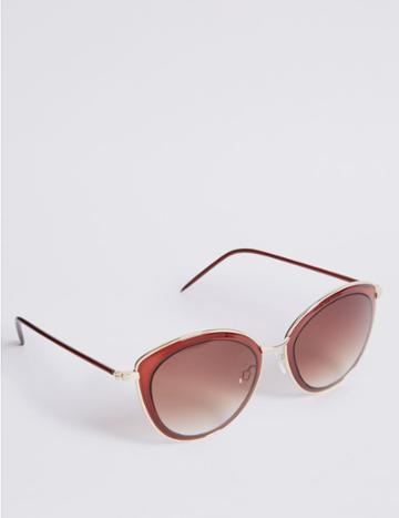Marks & Spencer Rim Insert Square Sunglasses Red Mix