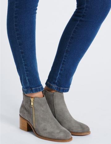 Marks & Spencer Suede Block Heel Ankle Boots Grey