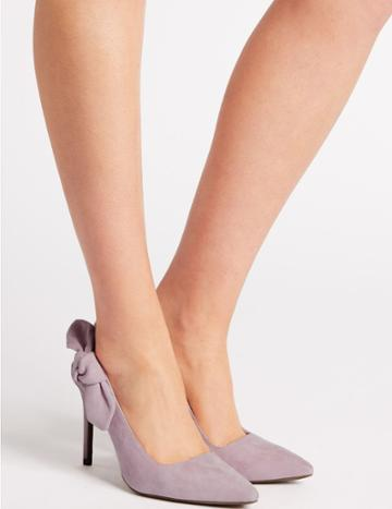 Marks & Spencer Suede Stiletto Heel Slingback Court Shoes Lilac