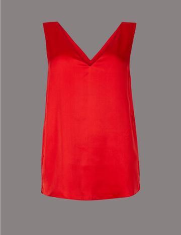 Marks & Spencer Pure Silk V-neck Sleeveless Blouse Chilli