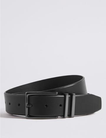 Marks & Spencer Leather Double Metal Keeper Buckle Belt Black
