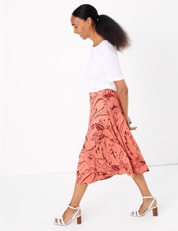 Marks & Spencer Floral Jersey A-line Midi Skirt Pink Mix