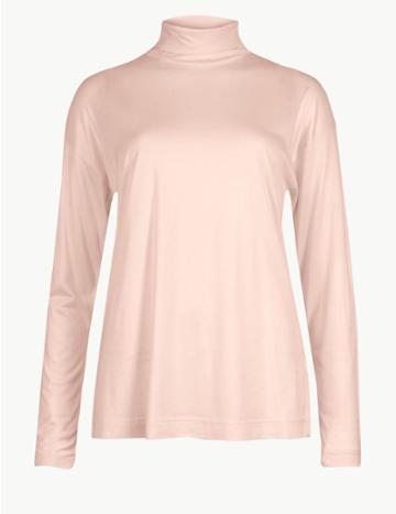 Marks & Spencer Mercerised Funnel Neck Long Sleeve Top Melba Blush