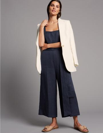 Marks & Spencer Pure Linen Jumpsuit Navy