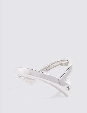 Marks & Spencer Sterling Silver V-stone Set Ring Silver Mix