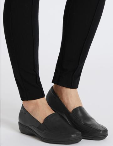 Marks & Spencer Wide Fit Leather Wedge Heel Loafers Black