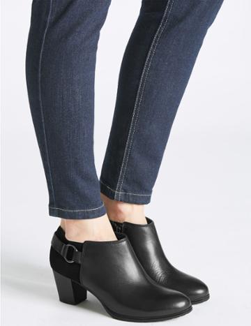 Marks & Spencer Leather Block Heel Shoe Boots Black