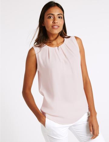 Marks & Spencer Pleated Round Neck Sleeveless Vest Top Blush