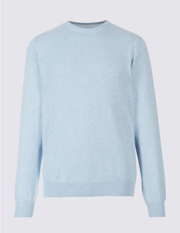 Marks & Spencer Pure Cotton Crew Neck Jumper Light Blue