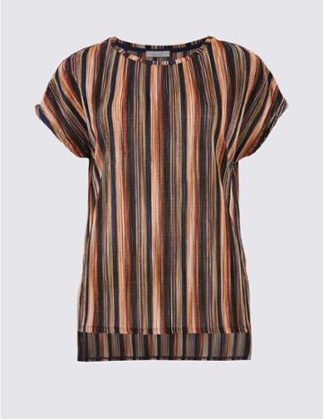 Marks & Spencer Striped Plisse Short Sleeve T-shirt Pink Mix