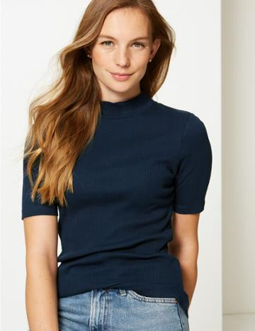 Marks & Spencer Pure Cotton Ribbed High Neck T-shirt Navy