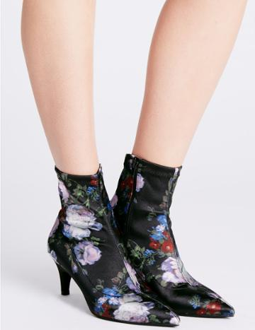 Marks & Spencer Kitten Heel Side Zip Ankle Boots Black Mix