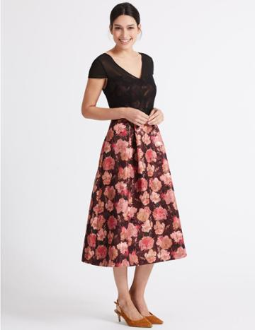 Marks & Spencer Floral Jacquard Short Sleeve Prom Midi Dress Black Mix
