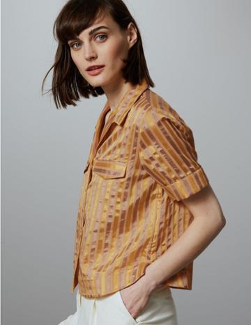 Marks & Spencer Cotton Blend Striped Cropped Boxy Shirt Multi