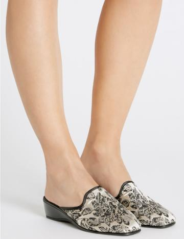 Marks & Spencer Wedge Heel Floral Print Mule Slippers Silver Mix