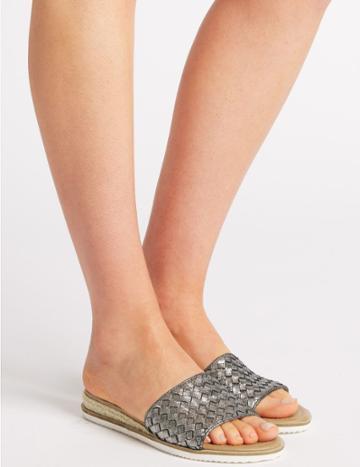 Marks & Spencer Leather Weave Vamp Mule Sandals Pewter