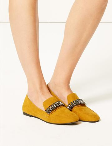 Marks & Spencer Square Toe Loafers Ochre