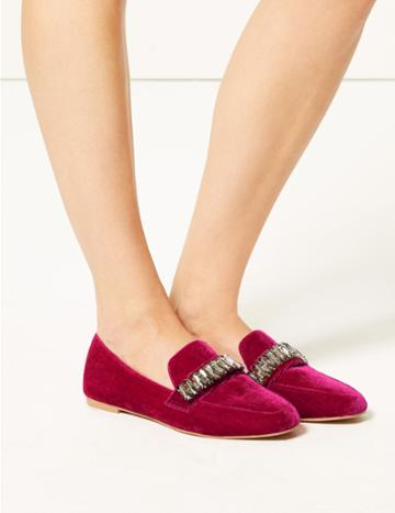 Marks & Spencer Jewel Trim Square Toe Loafers Pink