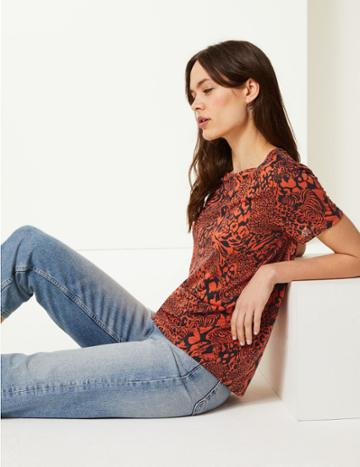 Marks & Spencer Animal Print Round Neck Relaxed Fit T-shirt Orange Mix