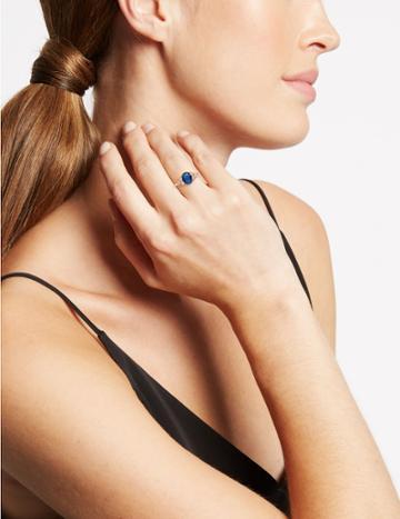 Marks & Spencer Gold Plated Shoulder Stone Ring Blue Mix