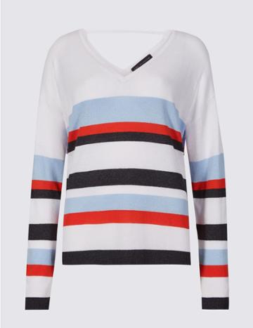 Marks & Spencer Striped V-neck Long Sleeve Jumper With Linen White Mix