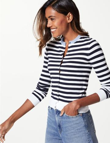 Marks & Spencer Petite Striped Round Neck Cardigan Navy Mix