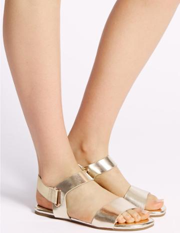 Marks & Spencer Elastic Ring Detail Sandals Metallic