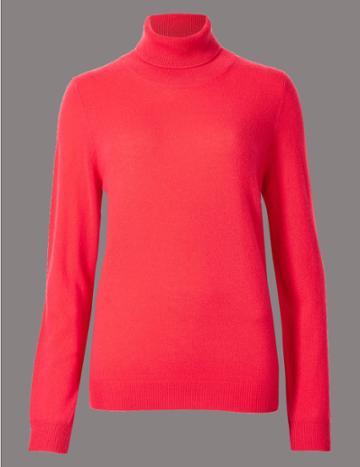 Marks & Spencer Pure Cashmere Roll Neck Jumper Crimson