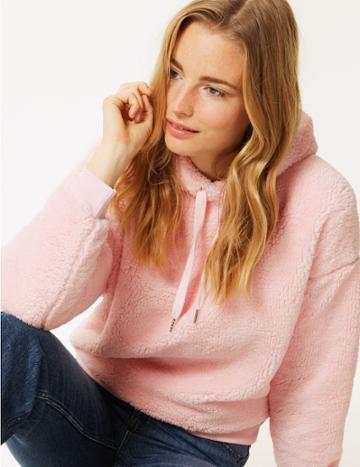 Marks & Spencer Borg Long Sleeve Hooded Sweatshirt Blush