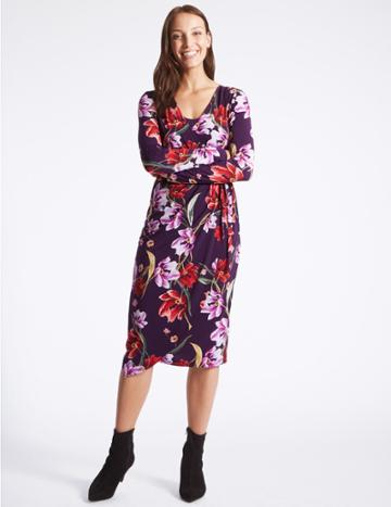 Marks & Spencer Floral Print Long Sleeve Wrap Midi Dress Purple Mix