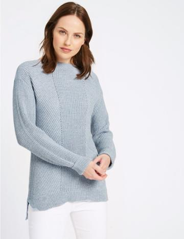 Marks & Spencer Pure Cotton Cable Knit Slash Neck Jumper Chambray