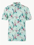 Marks & Spencer Pure Cotton Printed Polo Shirt Aqua Mix