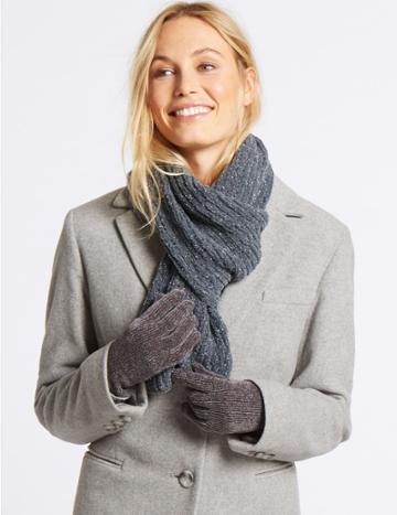 Marks & Spencer Sparkle Scarf & Gloves Set Charcoal