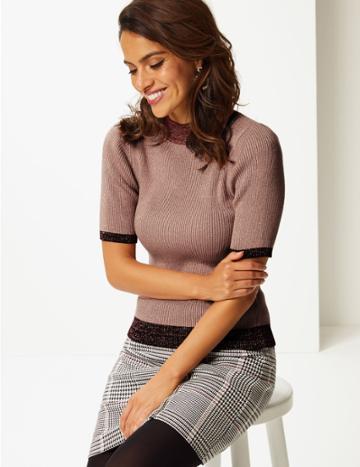 Marks & Spencer Sparkly Funnel Neck Half Sleeve Jumper Blush