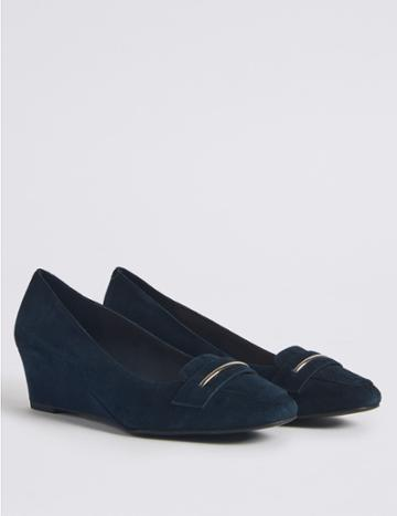 Marks & Spencer Wide Fit Leather Wedge Heel Court Shoes Navy
