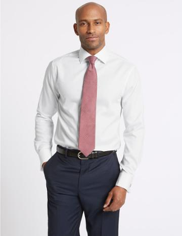 Marks & Spencer Pure Cotton Non-iron Twill Slim Fit Shirt White