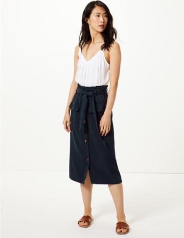 Marks & Spencer Midi A-line Skirt With Cotton Navy