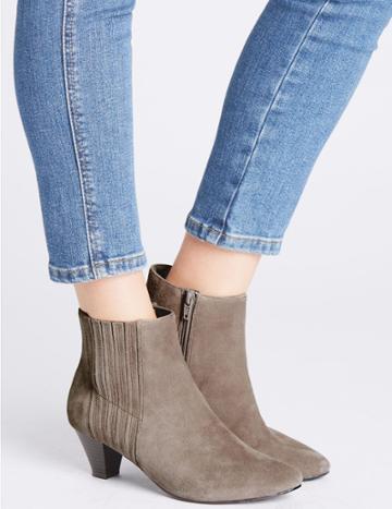 Marks & Spencer Covered Elastic Ankle Boots Mink