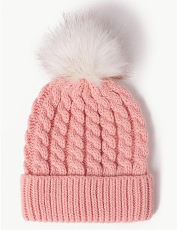 Marks & Spencer Faux Fur Bobble Beanie Hat Blush