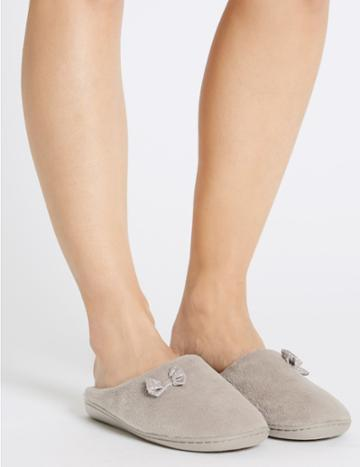 Marks & Spencer Spotted Bow Mule Slippers Stone