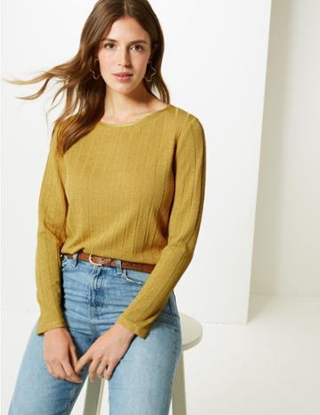 Marks & Spencer Ribbed Round Neck Open Knit T-shirt Honey