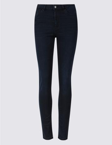 Marks & Spencer Sculpt & Lift Mid Rise Skinny Leg Jeans Blue/black