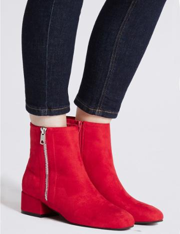 Marks & Spencer Block Heel Ankle Boots Red