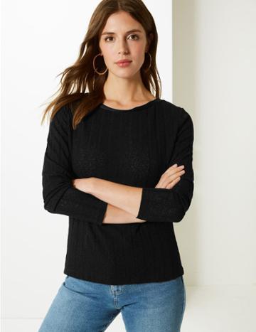 Marks & Spencer Ribbed Round Neck Open Knit T-shirt Black