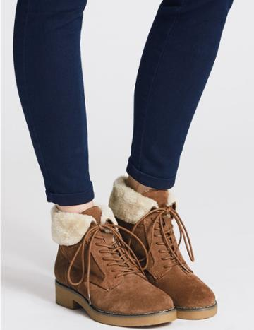Marks & Spencer Wide Fit Suede Block Heel Ankle Boots Sand