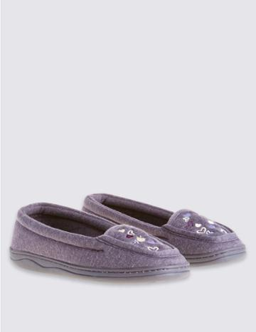 Marks & Spencer Heart Embroidered Moccasin Slippers Purple Mix