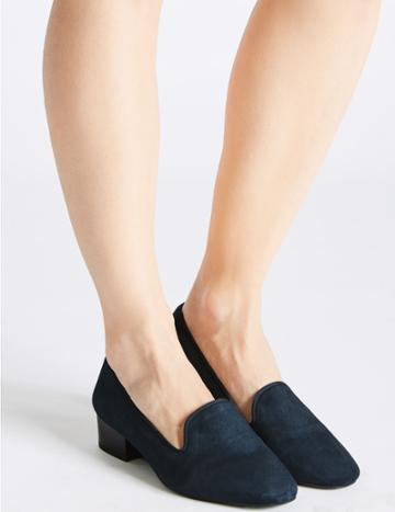 Marks & Spencer Wide Fit Suede Block Heel Pump Shoes Navy