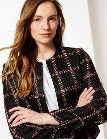 Marks & Spencer Checked Open Front Blazer